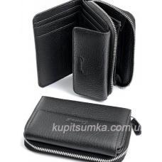Компактный женский кошелёк из натуральной кожи Черный