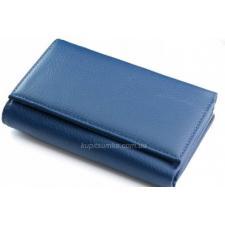 Компактный кожаный кошелек синего цвета на магнитных кнопках