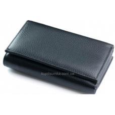 Компактный кожаный кошелек черного цвета на магнитных кнопках