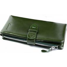 Функциональный женский кожаный кошелек зеленого цвета