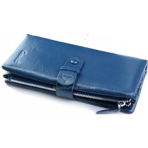 Функциональный женский кожаный кошелек синего цвета