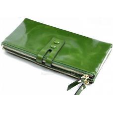 Женский кошелек зеленого цвета из натуральной кожи