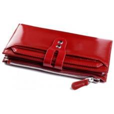 Функциональный кожаный кошелек для женщин темно-красного цвета