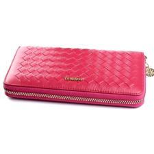 Розовый женский кожаный кошелек с интересным дизайном