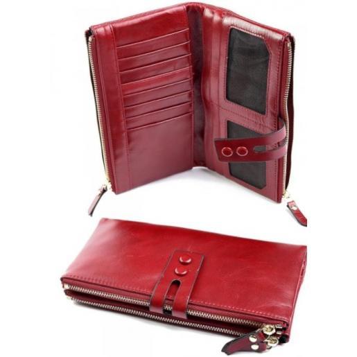 Кожаный женский кошелек 33D81 Красный