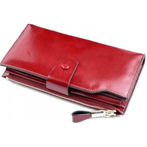 Кошелёк красный кожаный 3302D
