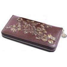 Кожаный кошелек коричневого цвета с цветочным мотивом