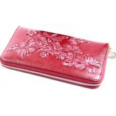 Кожаный женский кошелек бордового цвета на молнии