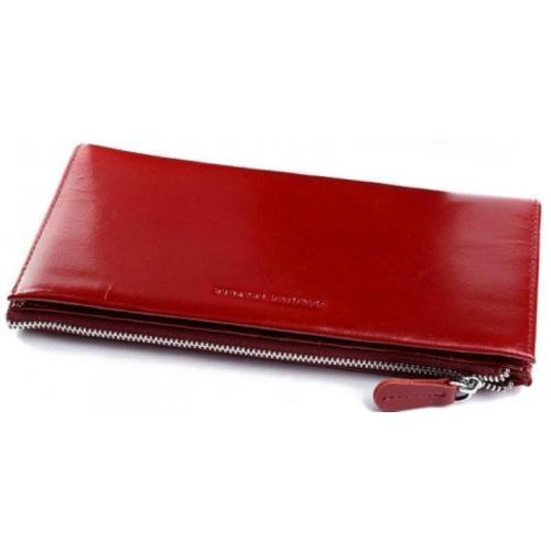 Женский кошелек из натуральной темно-красной кожи на молнии