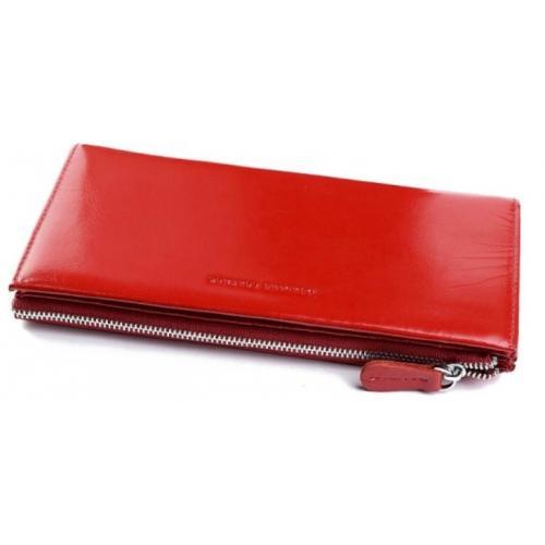 Женский кошелек красный из натуральной кожи