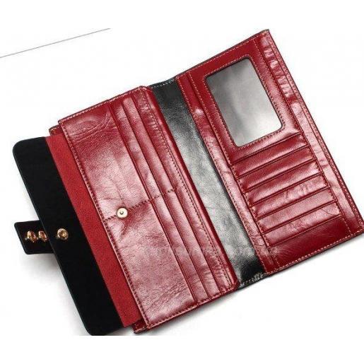Женский кошелек из натуральной кожи 33D12 Красный