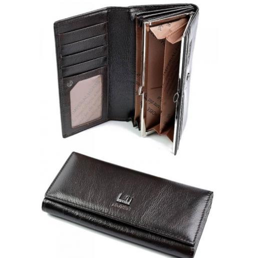 Женский кожаный кошелек темно-коричневого цвета с логотипом бренда