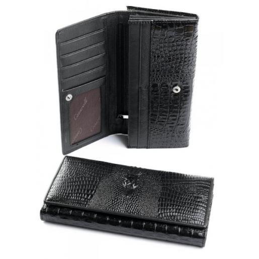 Женский кожаный кошелек черный AД137-207