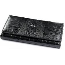Женский кожаный кошелек черного цвета с тиснением под крокодила