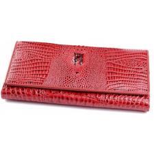 Женский красный кожаный кошелек с тиснением под крокодила