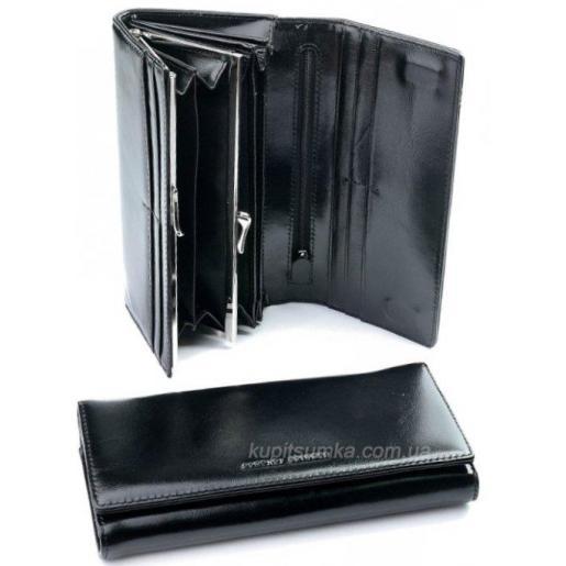 Черное портмоне из натуральной кожи с внутренней монетницей