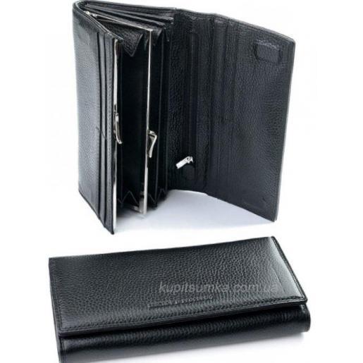 Классический черный кошелек из кожи с внутренней монетницей
