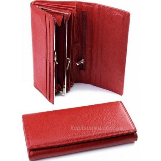 Красное портмоне из натуральной кожи с внутренней монетницей
