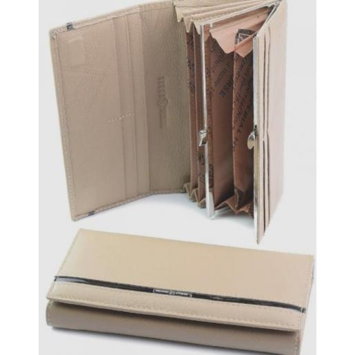Кожаный женский бежевый кошелёк  2002D