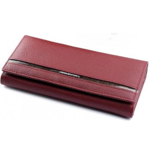 Кожаный женский кошелёк 2002D тёмно - красный