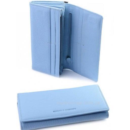 Женский голубой кошелек из кожи с внешней монетницей