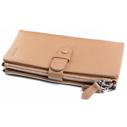 Кожаный женский кошелек  DO17-15-22 Бежевый
