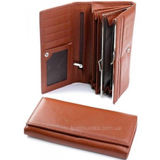 Кожаный коричневый кошелек с внутренней монетницей на защелке