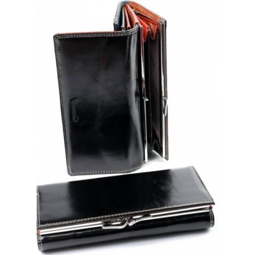Кожаный женский кошелек DO91-12-2 Черный