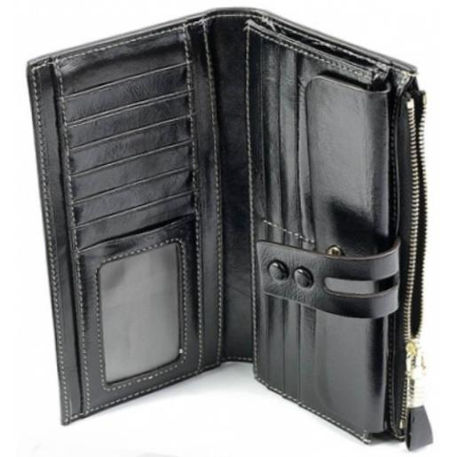Женское кожаное портмоне 33D12 Черный