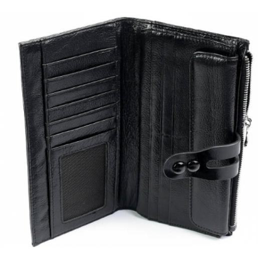 Женский кошелек кожаный черный 18817D11-3