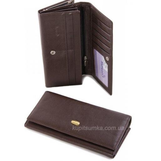 Женский кошелек из кожи кофейного цвета с внешней монетницей