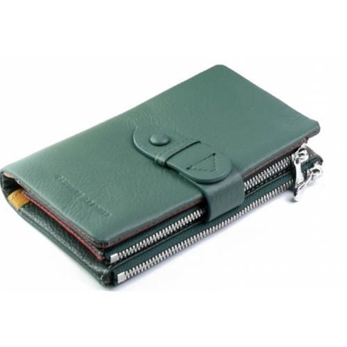 Женское кожаное портмоне зеленое 12-99D36-17