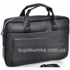 Классический портфель из натуральной чёрной кожи