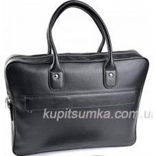 Чёрная мужская сумка из натуральной кожи с передним карманом