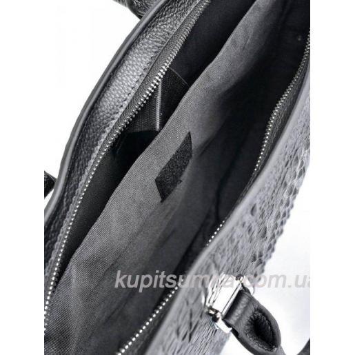 Мужской портфель из натуральной кожи с экзотическим тиснением