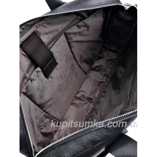 Деловая мужская сумка из чёрной натуральной кожи