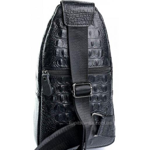Кожаная современная мужская сумка через плечо черного цвета