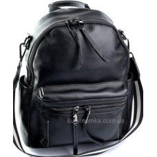 Женский кожаный рюкзак из натуральной мягкой кожи Чёрный
