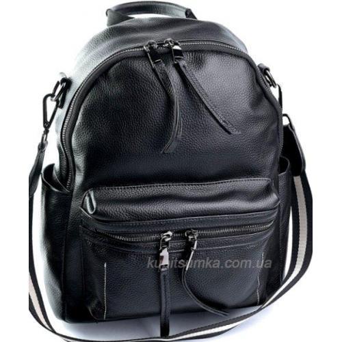 Женский кожаный рюкзак из кожи Promo 636D Чёрный
