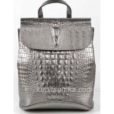 Женский рюкзак из натуральной кожи Старинное серебро