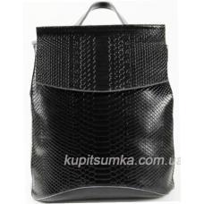 Женский рюкзак из натуральной тиснёной кожи Чёрный