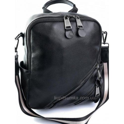Кожаный рюкзак из натуральной зернистой кожи Чёрный