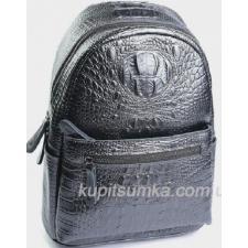 Рюкзак из натуральной кожи с тиснением под крокодиловую кожу Графитовый