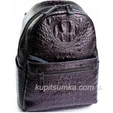 Рюкзак из натуральной кожи с тиснением под крокодиловую кожу Коричневый