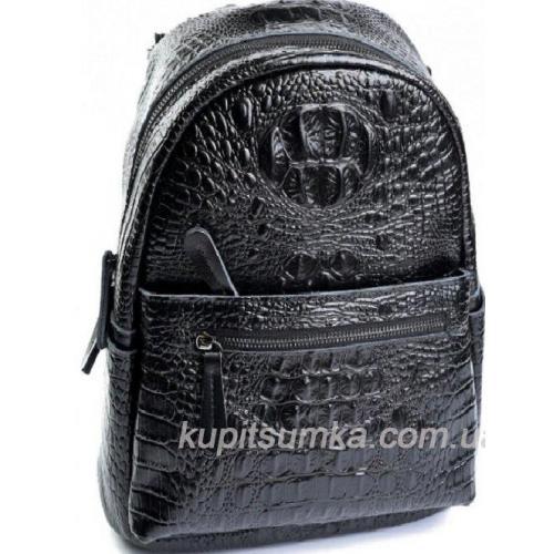 Рюкзак из натуральной кожи с тиснением под крокодиловую кожу Чёрный