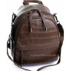 Кожаный женский рюкзак коричневый 80D976-1