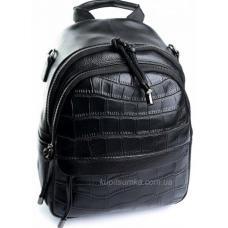 Рюкзак молодёжный из натуральной кожи чёрного цвета