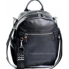 Современный рюкзак из натуральной кожи чёрного цвета