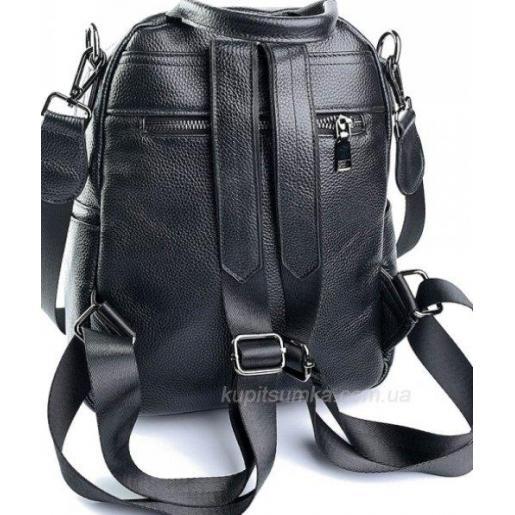 Чёрный женский кожаный рюкзак с передним карманом на кнопке