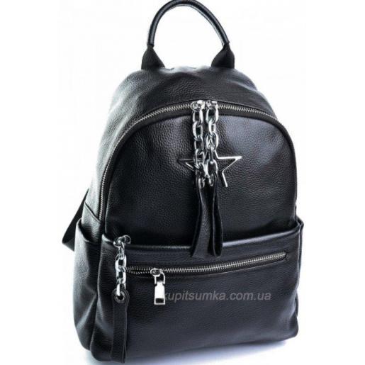 Стильный кожаный рюкзак из натуральной мягкой кожи Чёрный